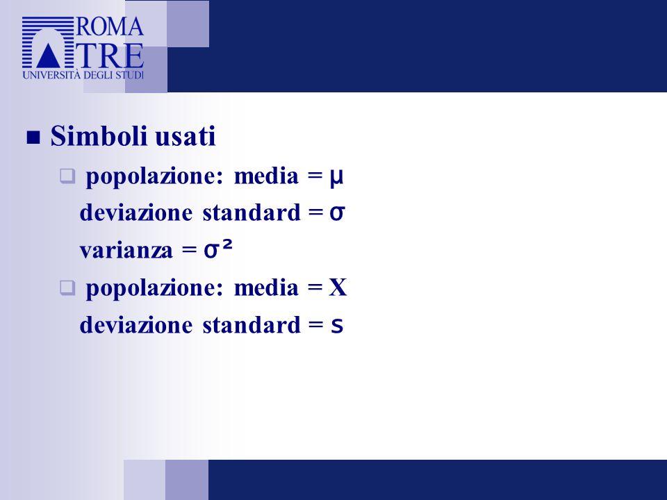 Simboli usati popolazione: media = μ deviazione standard = σ varianza = σ² popolazione: media = X deviazione standard = s