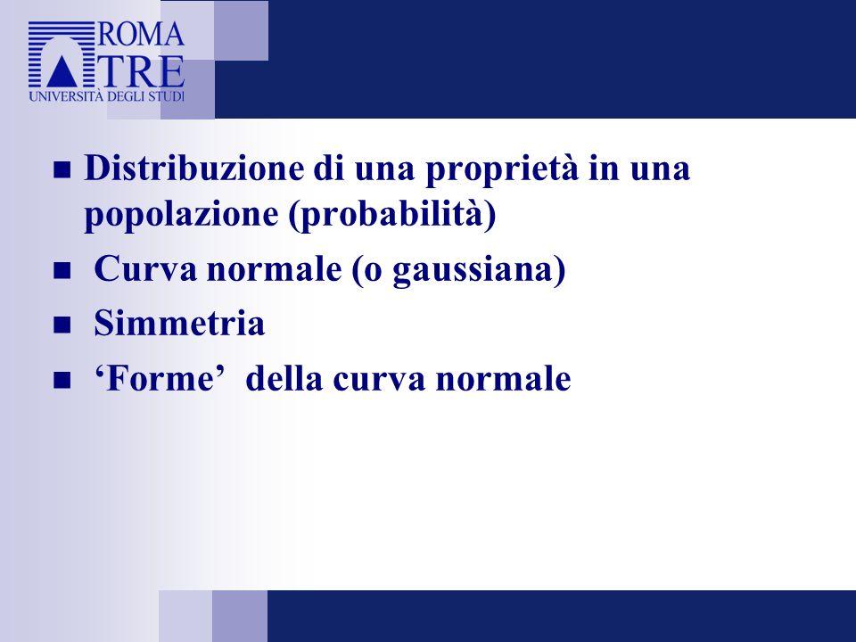 Distribuzione di una proprietà in una popolazione (probabilità) Curva normale (o gaussiana) Simmetria Forme della curva normale
