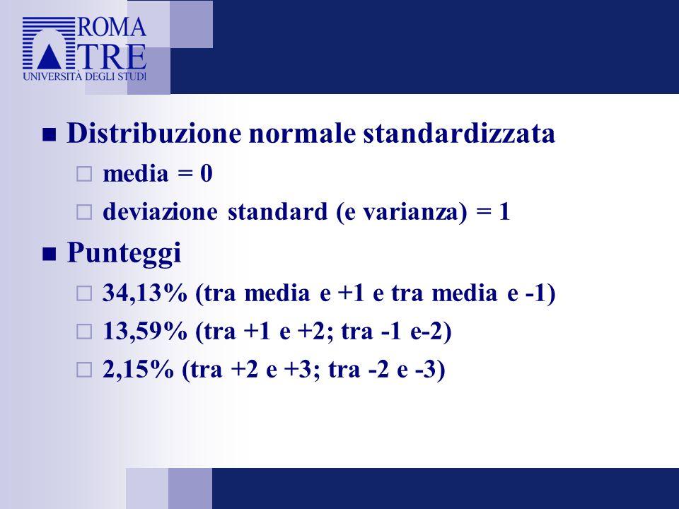Distribuzione normale standardizzata media = 0 deviazione standard (e varianza) = 1 Punteggi 34,13% (tra media e +1 e tra media e -1) 13,59% (tra +1 e