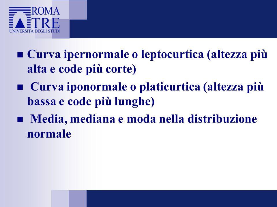 Curva ipernormale o leptocurtica (altezza più alta e code più corte) Curva iponormale o platicurtica (altezza più bassa e code più lunghe) Media, medi