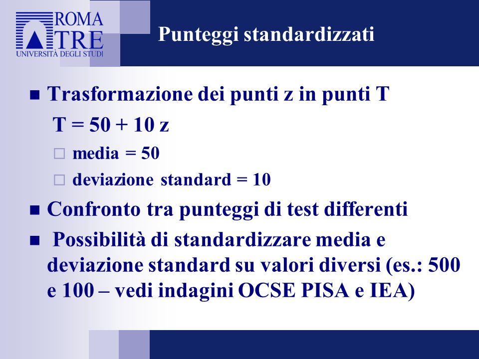 Punteggi standardizzati Trasformazione dei punti z in punti T T = 50 + 10 z media = 50 deviazione standard = 10 Confronto tra punteggi di test differe