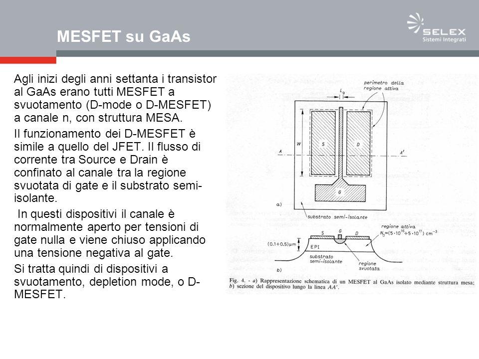 MESFET su GaAs Agli inizi degli anni settanta i transistor al GaAs erano tutti MESFET a svuotamento (D-mode o D-MESFET) a canale n, con struttura MESA