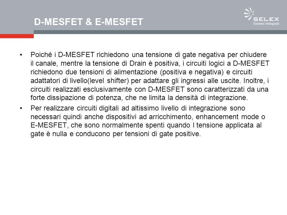 D-MESFET & E-MESFET Poiché i D-MESFET richiedono una tensione di gate negativa per chiudere il canale, mentre la tensione di Drain è positiva, i circu