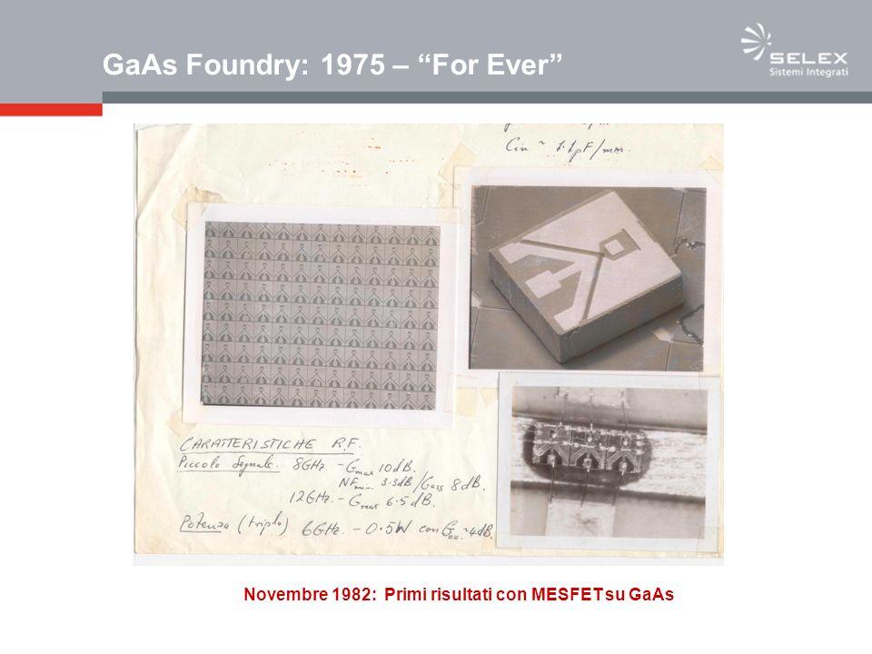 GaAs Foundry: 1975 – For Ever Novembre 1982: Primi risultati con MESFET su GaAs