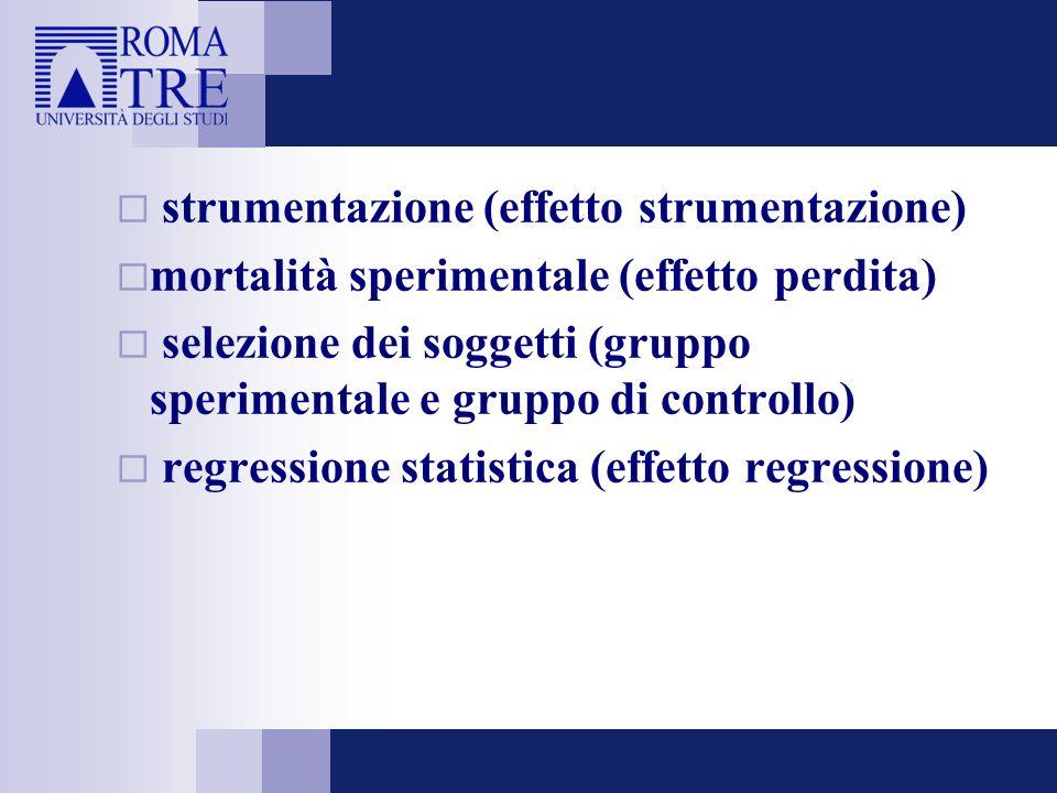 strumentazione (effetto strumentazione) mortalità sperimentale (effetto perdita) selezione dei soggetti (gruppo sperimentale e gruppo di controllo) regressione statistica (effetto regressione)