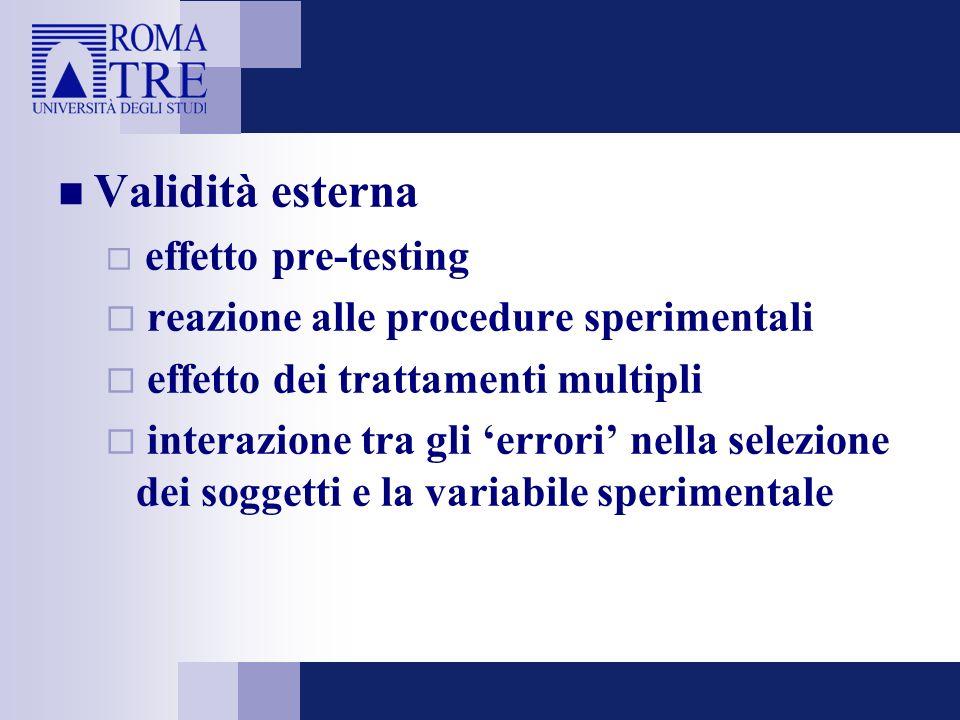 Validità esterna effetto pre-testing reazione alle procedure sperimentali effetto dei trattamenti multipli interazione tra gli errori nella selezione
