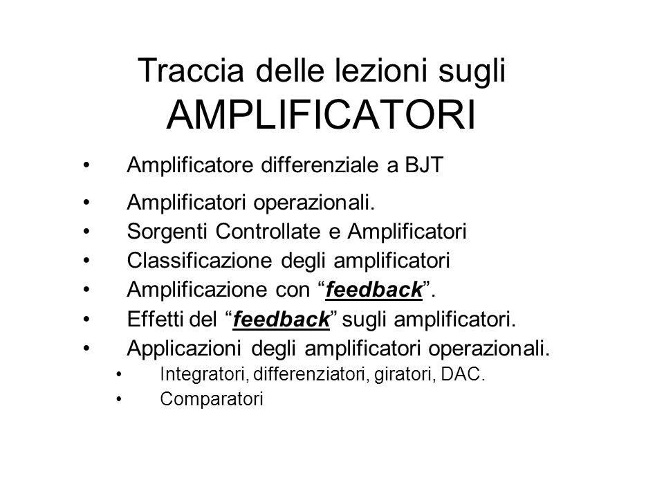Traccia delle lezioni sugli AMPLIFICATORI Amplificatore differenziale a BJT Amplificatori operazionali. Sorgenti Controllate e Amplificatori Classific