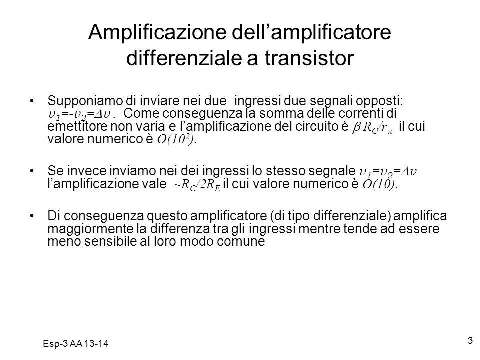 Esp-3 AA 13-14 3 Amplificazione dellamplificatore differenziale a transistor Supponiamo di inviare nei due ingressi due segnali opposti: v 1 =-v 2 = v