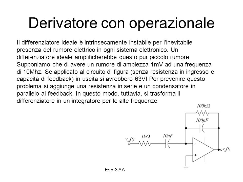 Esp-3 AA 13-1432 Derivatore con operazionale Il differenziatore ideale è intrinsecamente instabile per linevitabile presenza del rumore elettrico in o