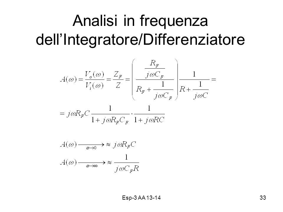 Esp-3 AA 13-1433 Analisi in frequenza dellIntegratore/Differenziatore