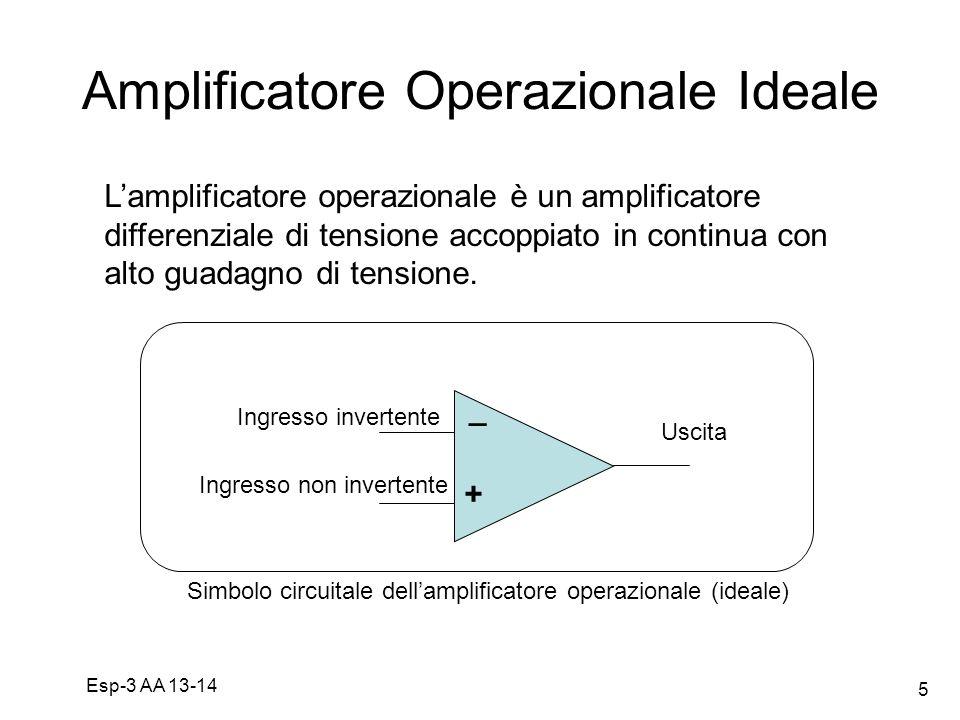 Esp-3 AA 13-14 5 Amplificatore Operazionale Ideale + _ Simbolo circuitale dellamplificatore operazionale (ideale) Lamplificatore operazionale è un amp