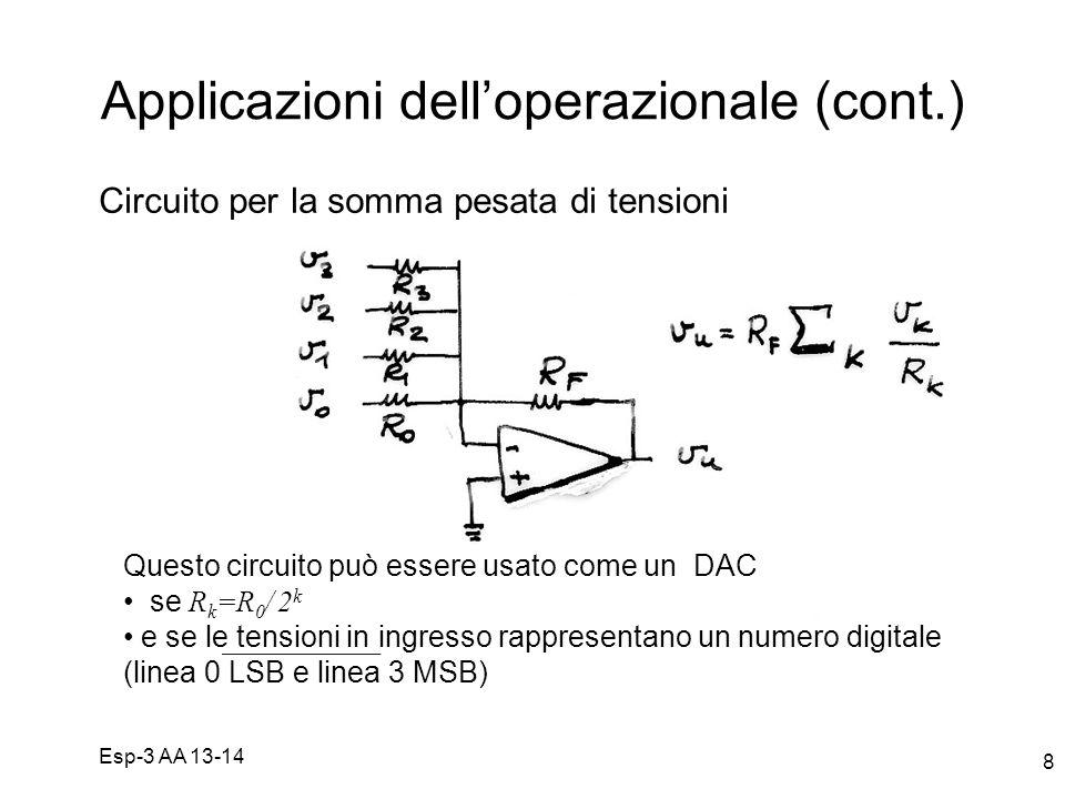 Esp-3 AA 13-14 8 Applicazioni delloperazionale (cont.) Circuito per la somma pesata di tensioni Questo circuito può essere usato come un DAC se R k =R