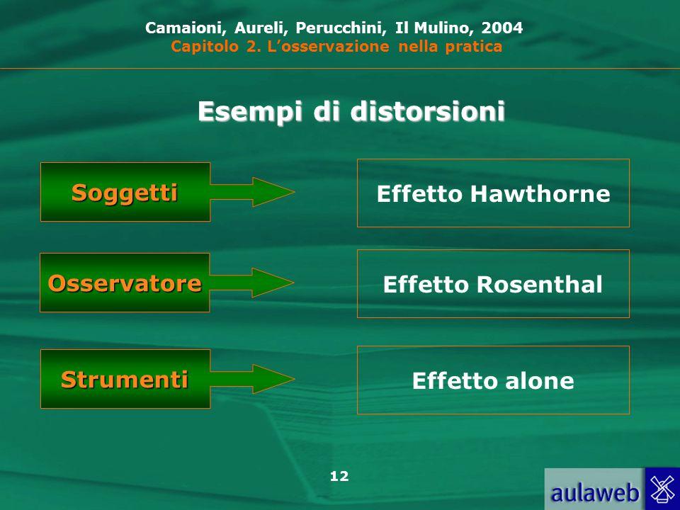 12 Camaioni, Aureli, Perucchini, Il Mulino, 2004 Capitolo 2. Losservazione nella pratica Esempi di distorsioni Soggetti Osservatore Strumenti Effetto