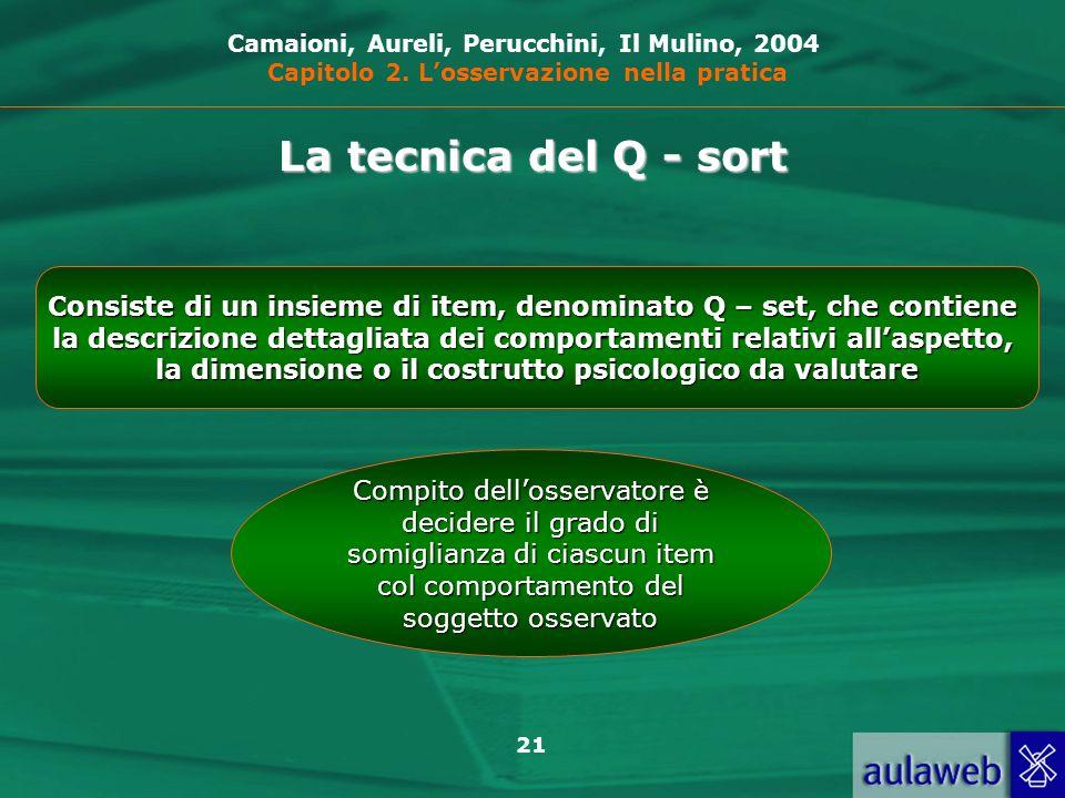 21 La tecnica del Q - sort Consiste di un insieme di item, denominato Q – set, che contiene la descrizione dettagliata dei comportamenti relativi alla