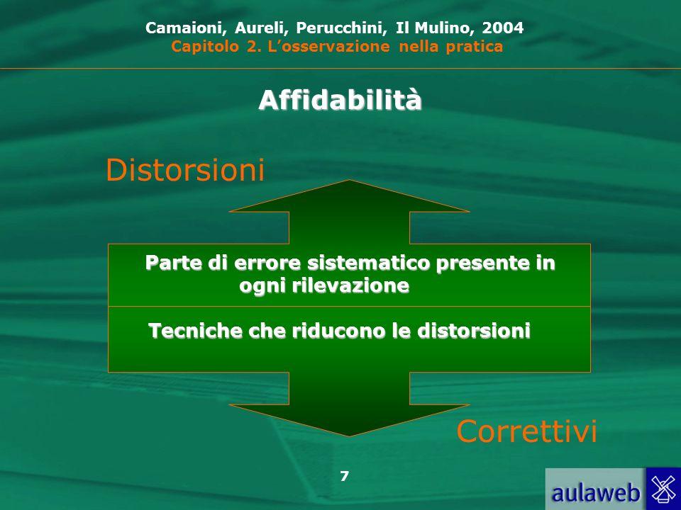 7 Distorsioni Correttivi Parte di errore sistematico presente in ogni rilevazione Tecniche che riducono le distorsioni Camaioni, Aureli, Perucchini, Il Mulino, 2004 Capitolo 2.