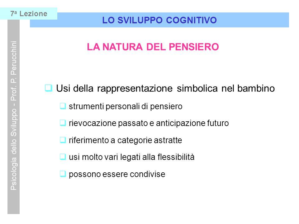 Usi della rappresentazione simbolica nel bambino strumenti personali di pensiero rievocazione passato e anticipazione futuro riferimento a categorie a