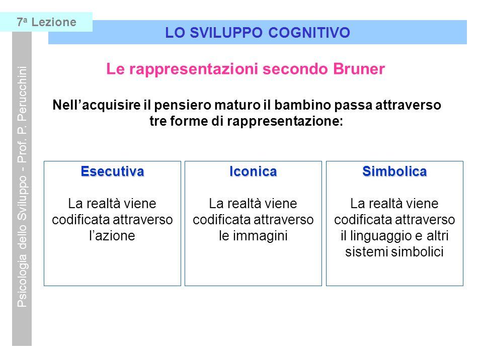 Le rappresentazioni secondo Bruner Nellacquisire il pensiero maturo il bambino passa attraverso tre forme di rappresentazione: Esecutiva La realtà vie