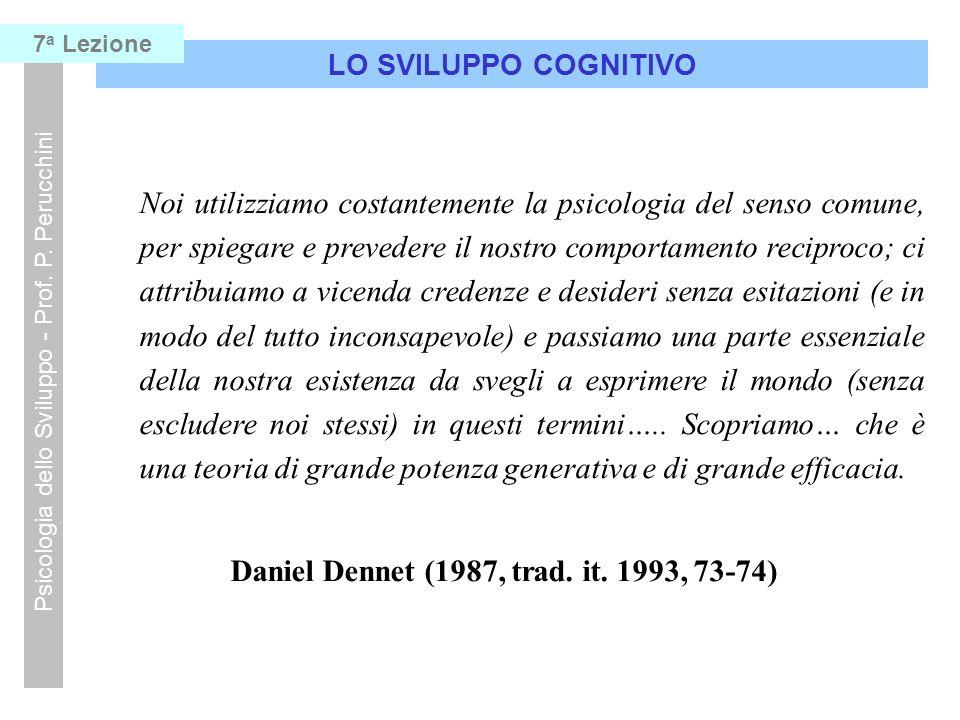 LO SVILUPPO COGNITIVO Psicologia dello Sviluppo - Prof. P. Perucchini 7 a Lezione Noi utilizziamo costantemente la psicologia del senso comune, per sp