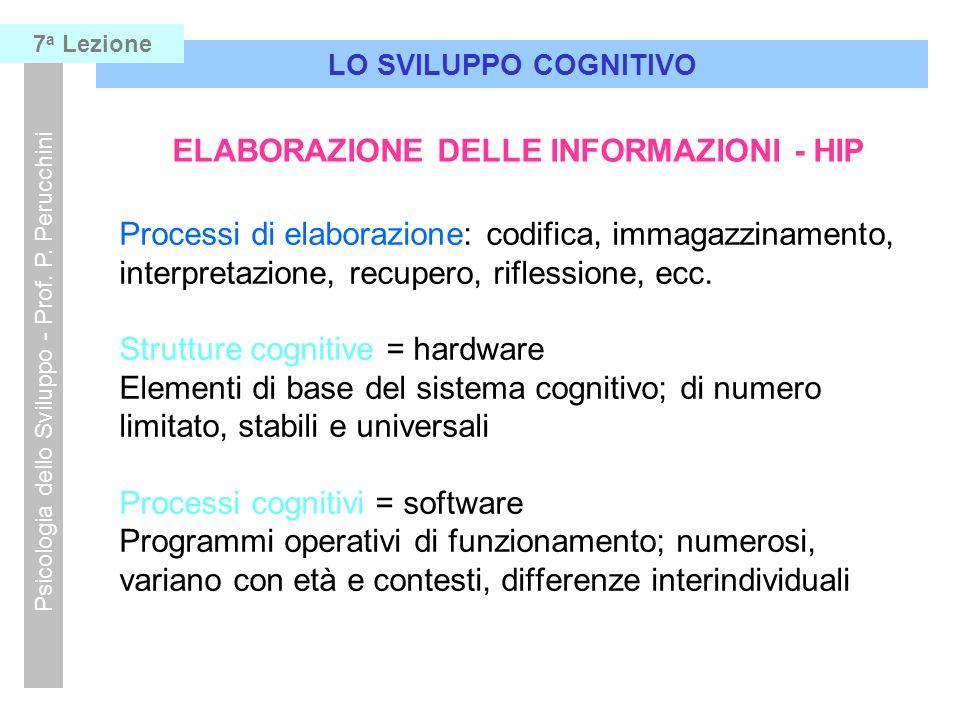 Processi di elaborazione: codifica, immagazzinamento, interpretazione, recupero, riflessione, ecc. Strutture cognitive = hardware Elementi di base del