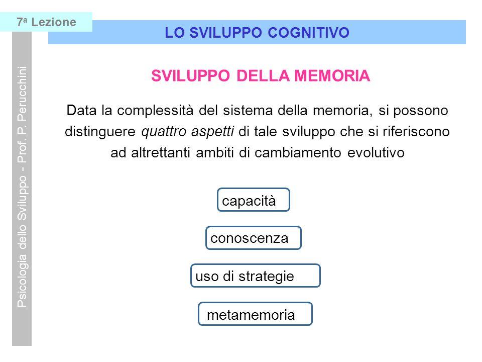 LO SVILUPPO COGNITIVO Psicologia dello Sviluppo - Prof. P. Perucchini 7 a Lezione SVILUPPO DELLA MEMORIA Data la complessità del sistema della memoria