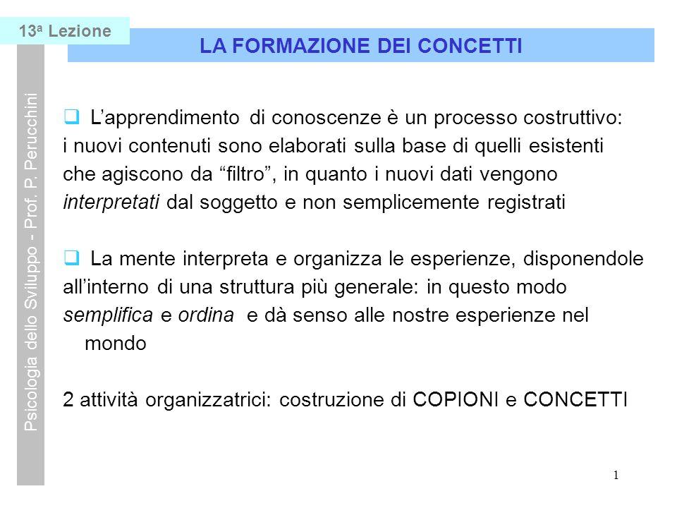1 LA FORMAZIONE DEI CONCETTI Psicologia dello Sviluppo - Prof.
