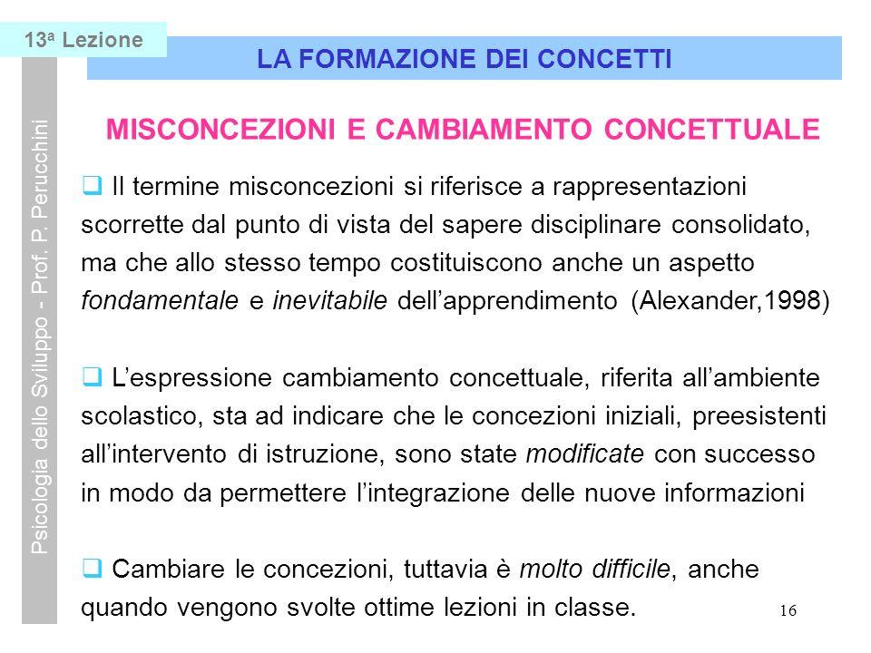 16 LA FORMAZIONE DEI CONCETTI Psicologia dello Sviluppo - Prof.