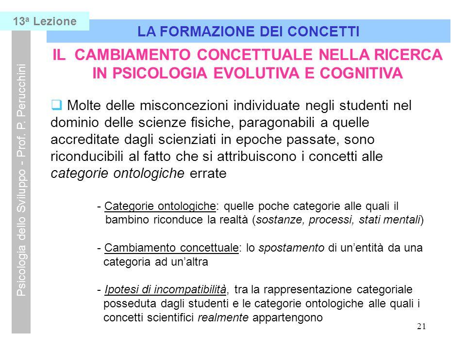 21 LA FORMAZIONE DEI CONCETTI Psicologia dello Sviluppo - Prof.