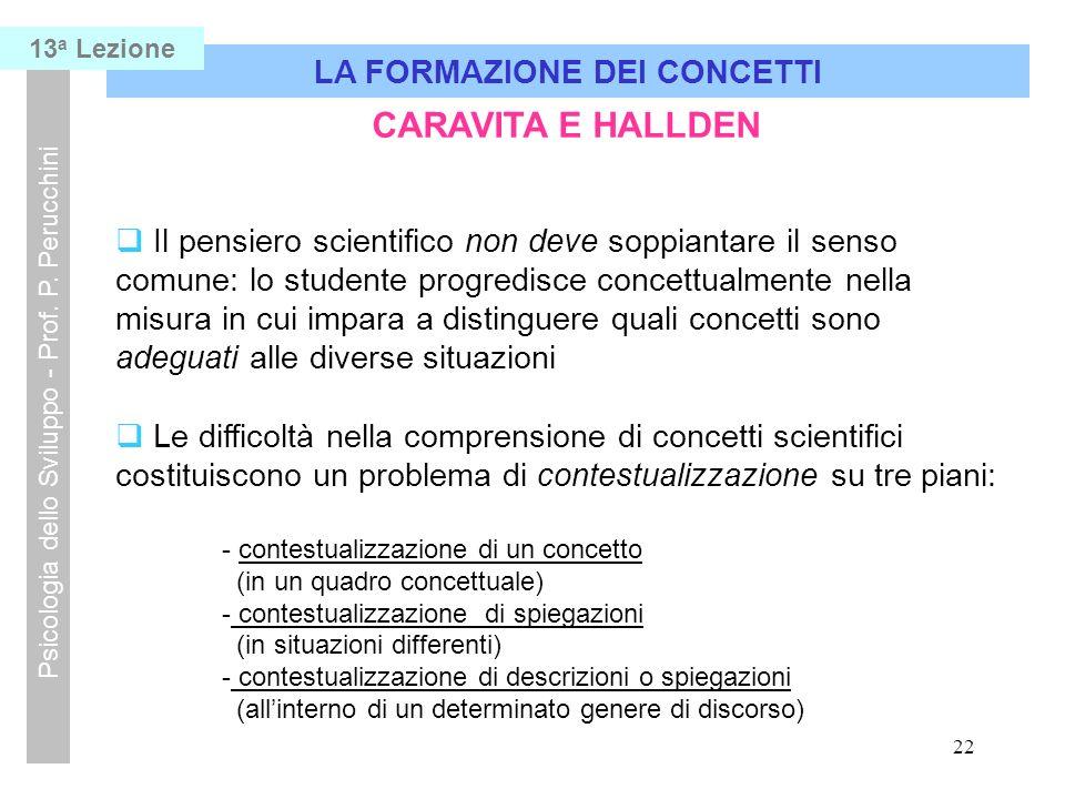 22 LA FORMAZIONE DEI CONCETTI Psicologia dello Sviluppo - Prof.