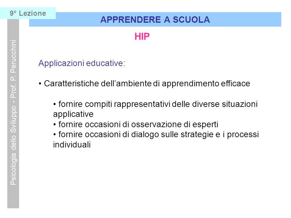 HIP Applicazioni educative: Caratteristiche dellambiente di apprendimento efficace fornire compiti rappresentativi delle diverse situazioni applicativ