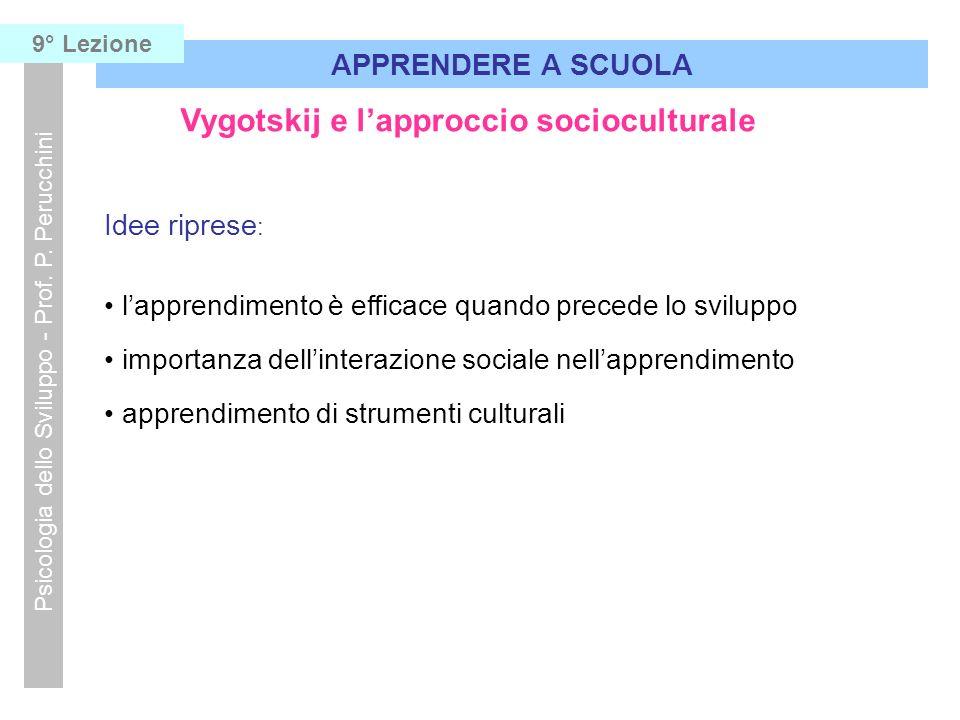 Vygotskij e lapproccio socioculturale Idee riprese : lapprendimento è efficace quando precede lo sviluppo importanza dellinterazione sociale nellappre