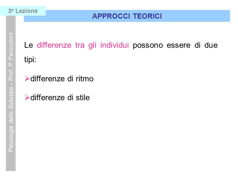 Psicologia dello Sviluppo - Prof. P. Perucchini Le differenze tra gli individui possono essere di due tipi: differenze di ritmo differenze di stile AP