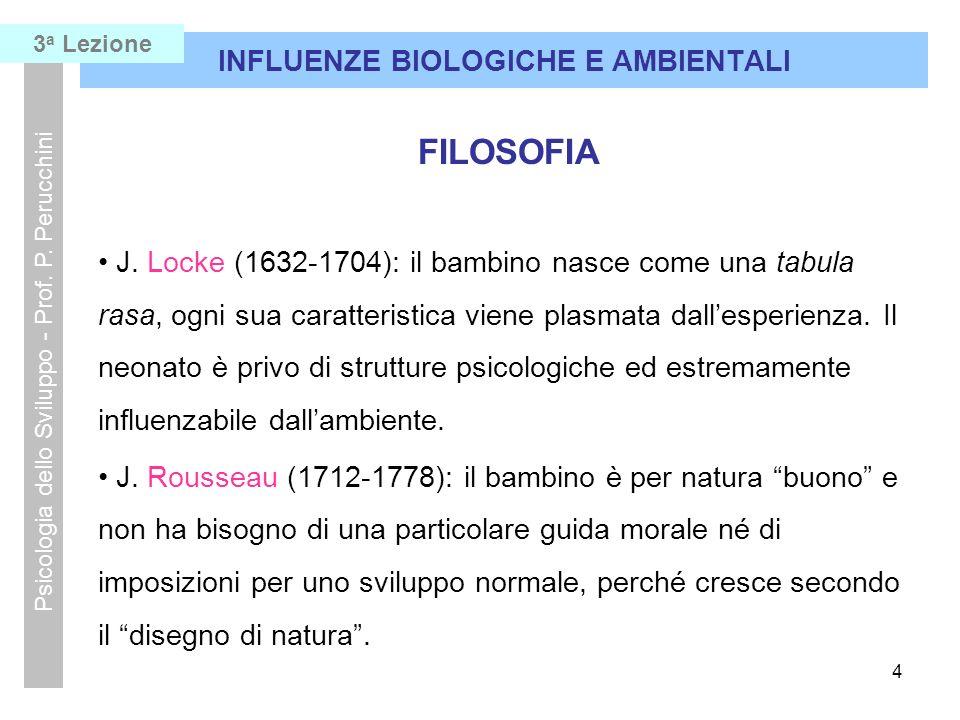 4 INFLUENZE BIOLOGICHE E AMBIENTALI Psicologia dello Sviluppo - Prof. P. Perucchini FILOSOFIA J. Locke (1632-1704): il bambino nasce come una tabula r