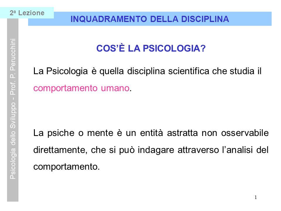 21 INQUADRAMENTO DELLA DISCIPLINA Psicologia dello Sviluppo - Prof.
