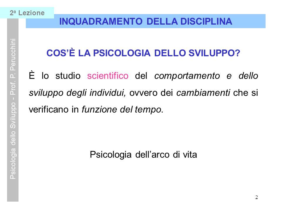 1 INQUADRAMENTO DELLA DISCIPLINA Psicologia dello Sviluppo - Prof. P. Perucchini 2 a Lezione COSÈ LA PSICOLOGIA? La Psicologia è quella disciplina sci