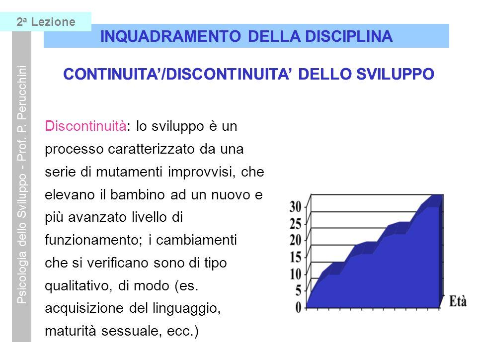 8 INQUADRAMENTO DELLA DISCIPLINA Psicologia dello Sviluppo - Prof. P. Perucchini 2 a Lezione CONTINUITA/DISCONTINUITA DELLO SVILUPPO I mutamenti nel c