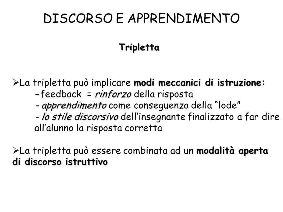 DISCORSO E APPRENDIMENTO Tripletta modi meccanici di istruzione rinforzo La tripletta può implicare modi meccanici di istruzione: -feedback = rinforzo