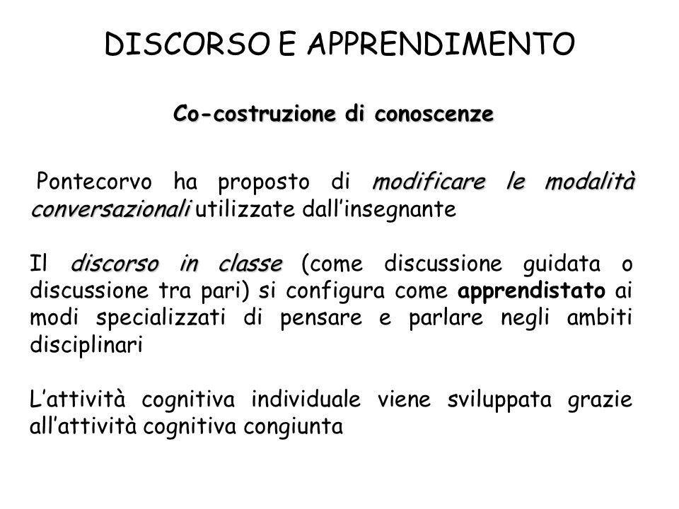 DISCORSO E APPRENDIMENTO Co-costruzione di conoscenze modificare le modalità conversazionali Pontecorvo ha proposto di modificare le modalità conversa
