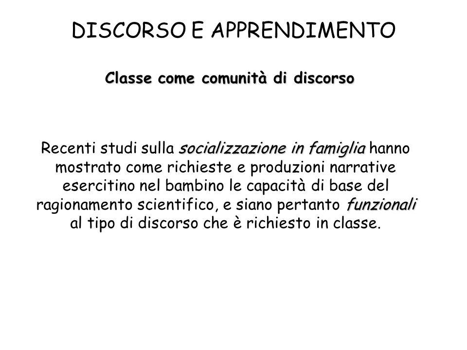 DISCORSO E APPRENDIMENTO Classe come comunità di discorso socializzazione in famiglia Recenti studi sulla socializzazione in famiglia hanno mostrato c