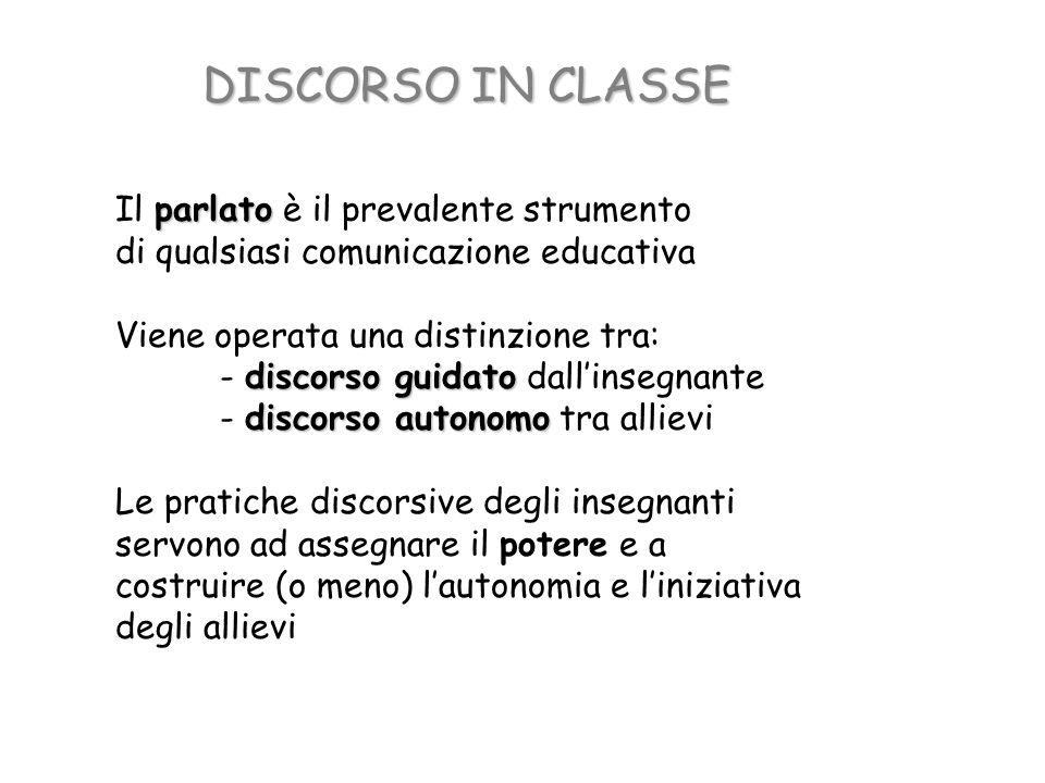 DISCORSO IN CLASSE parlato Il parlato è il prevalente strumento di qualsiasi comunicazione educativa Viene operata una distinzione tra: discorso guida