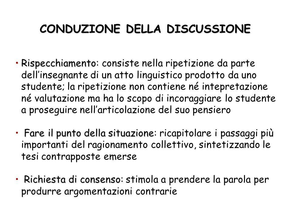CONDUZIONE DELLA DISCUSSIONE RispecchiamentoRispecchiamento: consiste nella ripetizione da parte dellinsegnante di un atto linguistico prodotto da uno