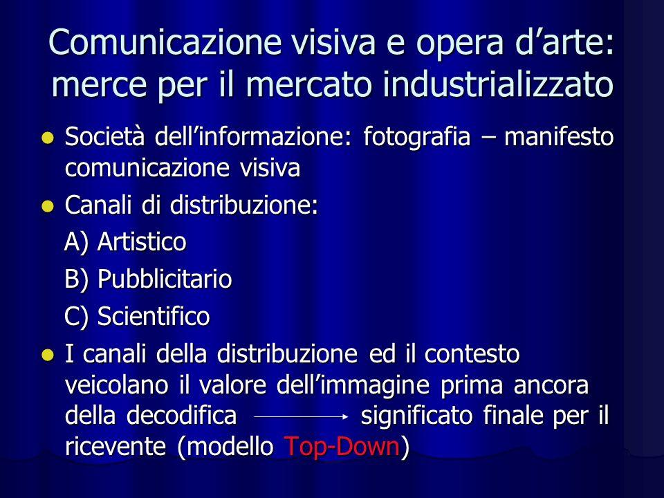 Comunicazione visiva e opera darte: merce per il mercato industrializzato Società dellinformazione: fotografia – manifesto comunicazione visiva Societ