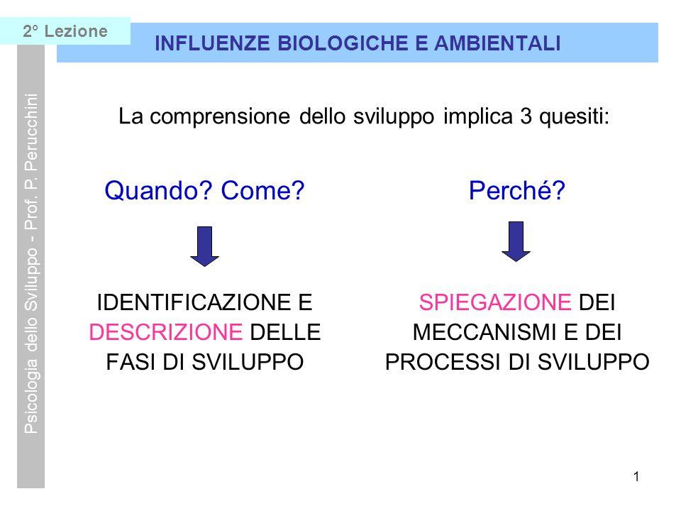 2 INFLUENZE BIOLOGICHE E AMBIENTALI Psicologia dello Sviluppo - Prof.