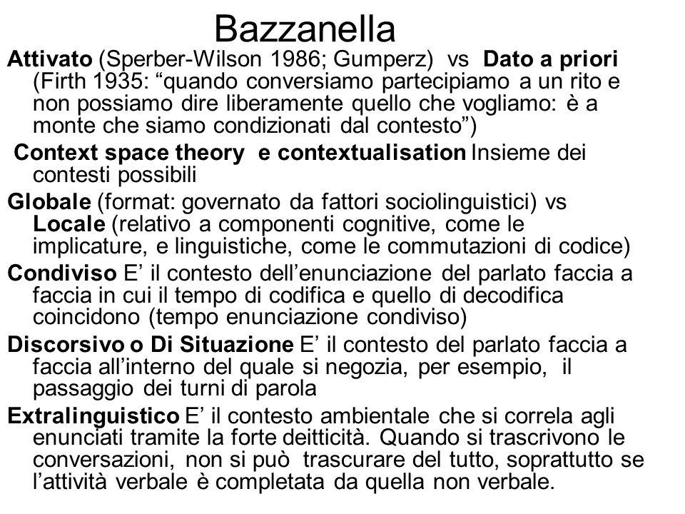 Bazzanella Attivato (Sperber-Wilson 1986; Gumperz) vs Dato a priori (Firth 1935: quando conversiamo partecipiamo a un rito e non possiamo dire liberam