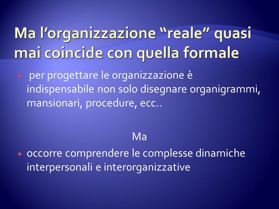 per progettare le organizzazione è indispensabile non solo disegnare organigrammi, mansionari, procedure, ecc.. Ma occorre comprendere le complesse di