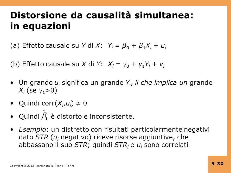 Copyright © 2012 Pearson Italia, Milano – Torino 9-30 Distorsione da causalità simultanea: in equazioni (a) Effetto causale su Y di X: Y i = β 0 + β 1