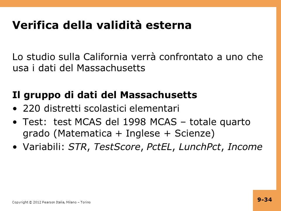 Copyright © 2012 Pearson Italia, Milano – Torino 9-34 Verifica della validità esterna Lo studio sulla California verrà confrontato a uno che usa i dat