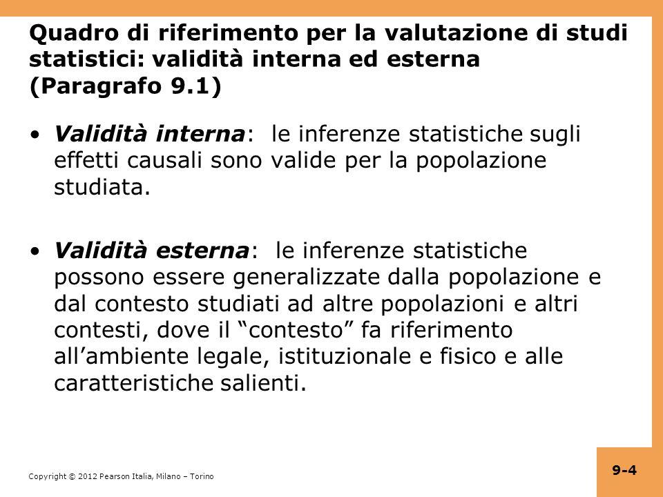 Copyright © 2012 Pearson Italia, Milano – Torino 9-15 Errore di misura classico: i calcoli = X i + v i, dove corr(X i, v i ) = 0 e corr(u i, v i ) = 0.