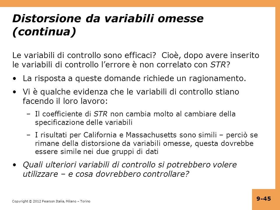 Copyright © 2012 Pearson Italia, Milano – Torino 9-45 Distorsione da variabili omesse (continua) Le variabili di controllo sono efficaci? Cioè, dopo a
