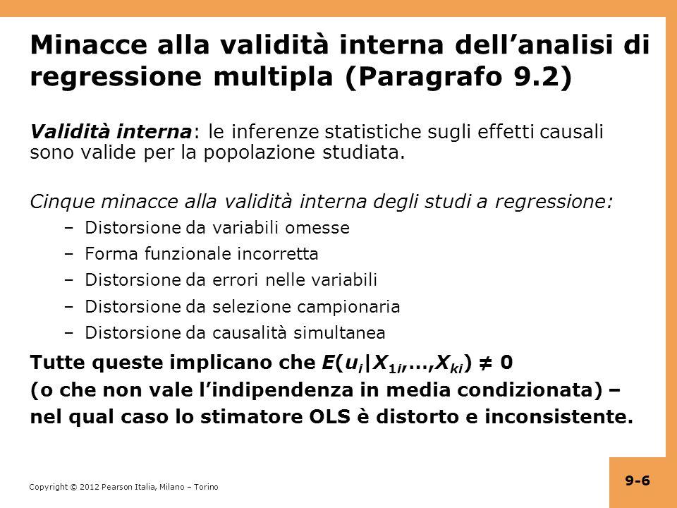 Copyright © 2012 Pearson Italia, Milano – Torino 9-6 Minacce alla validità interna dellanalisi di regressione multipla (Paragrafo 9.2) Validità interna: le inferenze statistiche sugli effetti causali sono valide per la popolazione studiata.