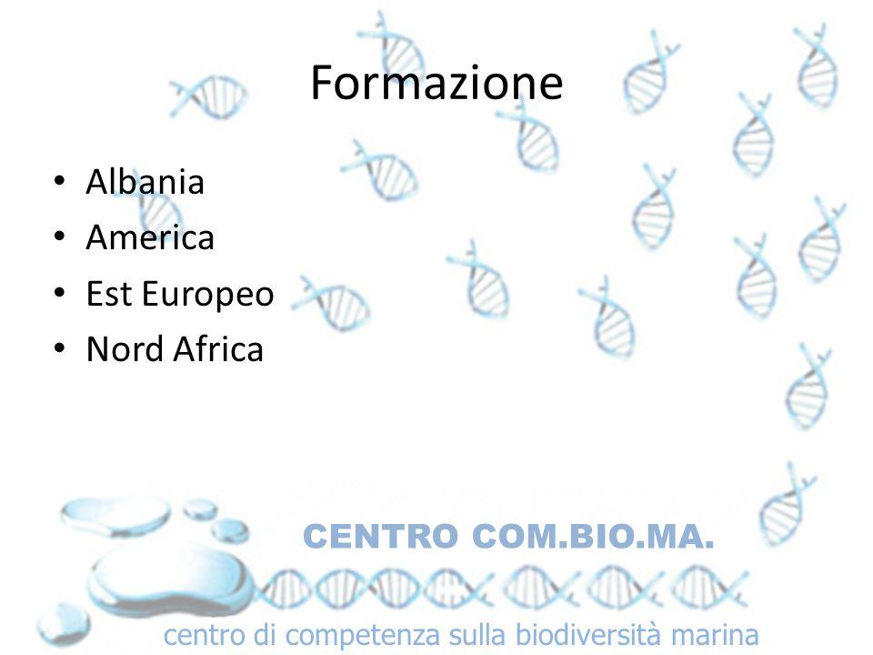 Formazione Albania America Est Europeo Nord Africa CENTRO COM.BIO.MA. centro di competenza sulla biodiversità marina